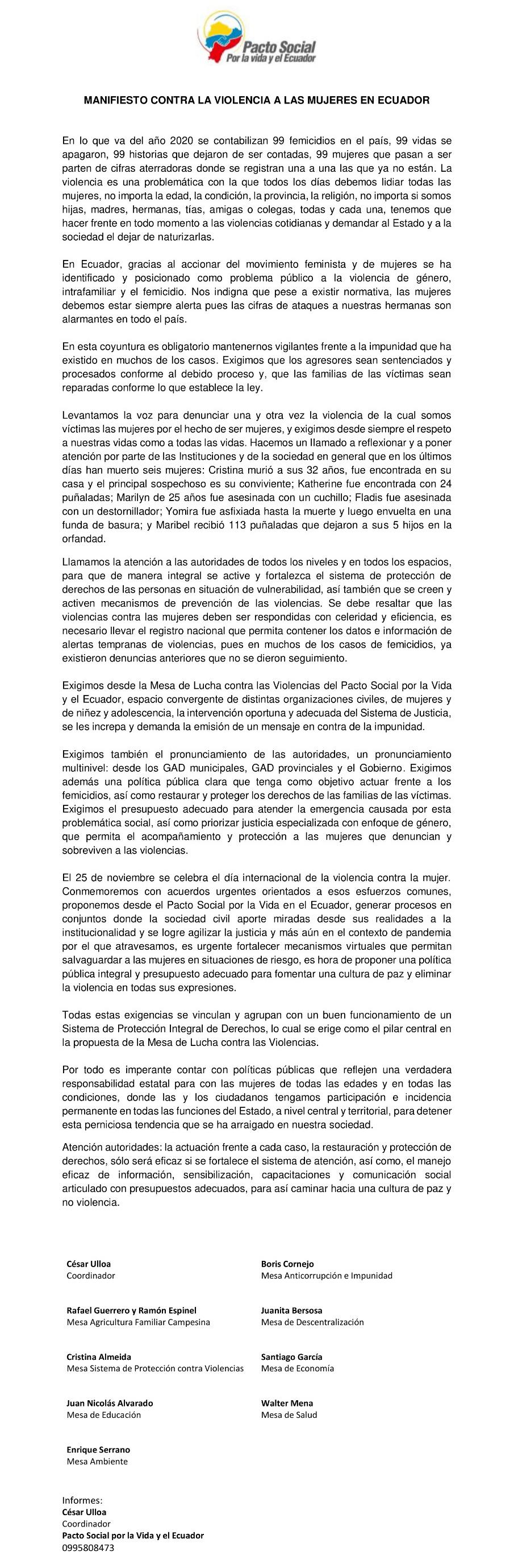 Manifiesto contra la violencia a las mujeres en Ecuador