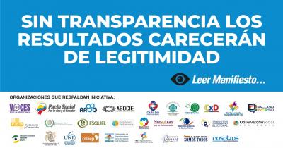 SIN TRANSPARENCIA LOS RESULTADOS CARECERÁN DE LEGITIMIDAD