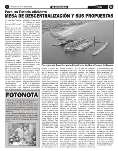 Mesa de descentralización y sus propuestas.