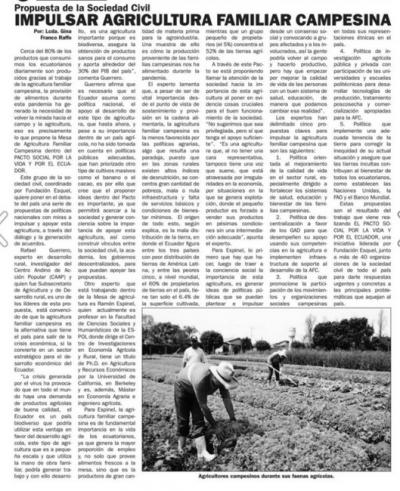 Impulsar agricultura familiar campesina
