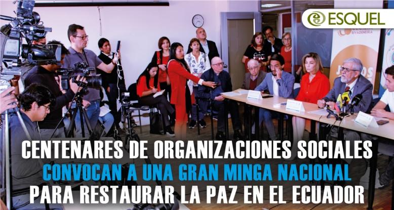 Centenares de organizaciones sociales convocan a una gran minga nacional para restaurar la paz en el Ecuador