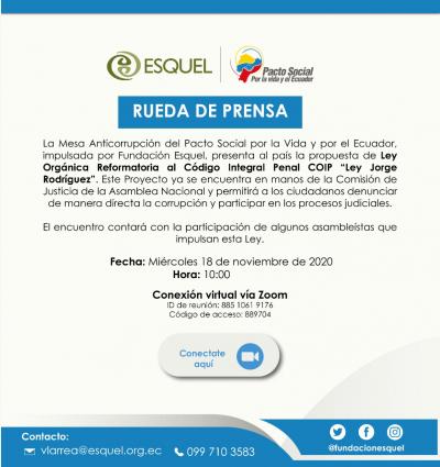 Mesa Anticorrupción del Pacto presenta el Proyecto de Ley 'Jorge Rodríguez'
