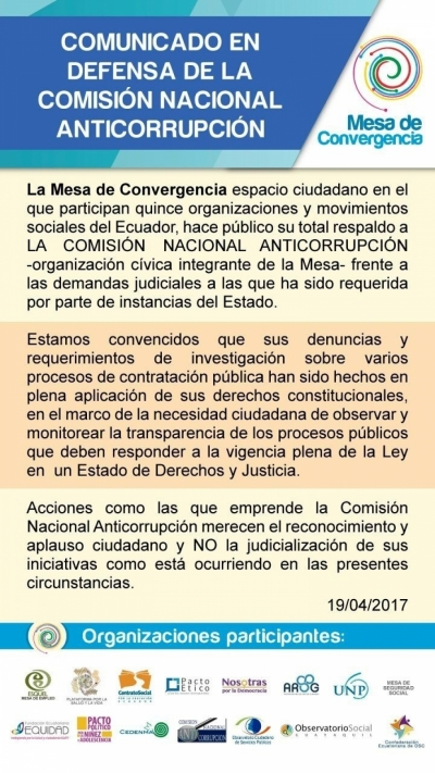 Mesa de Convergencia se pronuncia en defensa de organizaciones