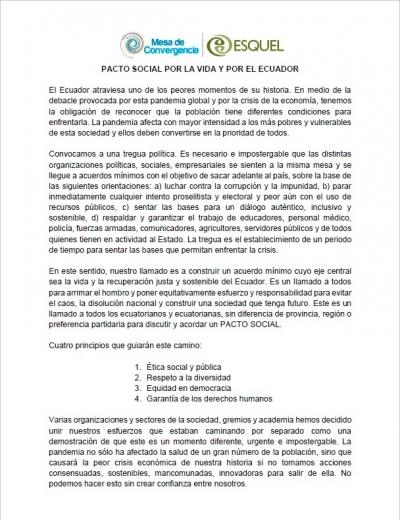 PACTO SOCIAL POR LA VIDA Y POR EL ECUADOR