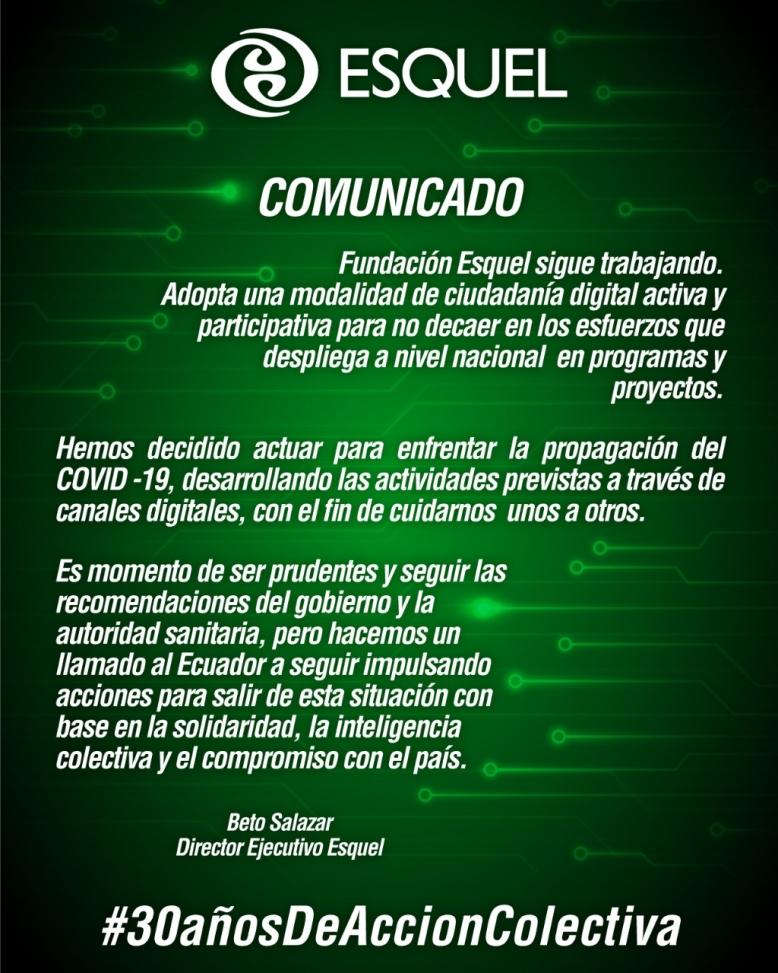 Comunicado | Frente al Coronavirus Ciudadanía Digital Activa y Participativa