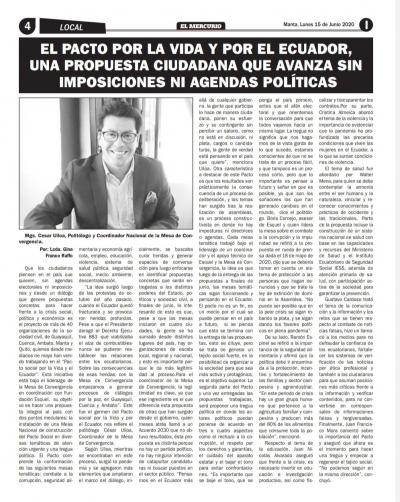 El Pacto por la Vida y por el Ecuador, una propuesta ciudadana que avanza sin imposiciones ni agendas políticas