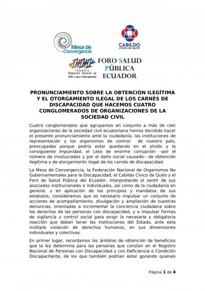 Pronunciamiento sobre la obtención ilegítima y el otorgamiento ilegal de los carnés de discapacidad de cuatro organizaciones de la sociedad civil