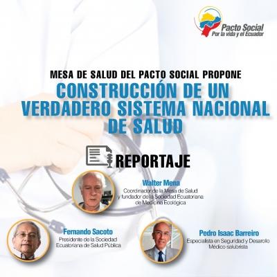 La Mesa de Salud del Pacto Social propone la construcción de un verdadero sistema de salud