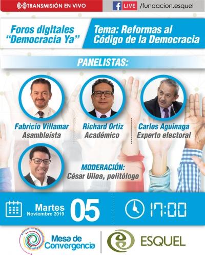 Esquel impulsa Foros Digitales para abordar urgentes reformas al Código de la Democracia