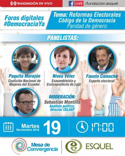 Tercer foro virtual 'Democracia YA' abordará la paridad de género, dentro de las reformas electorales